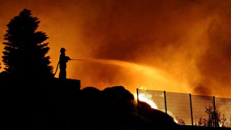 Imagen del incendio en la cordelería