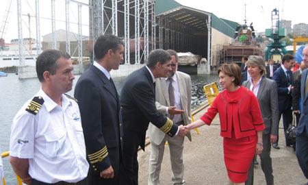 Elena Espinosa en la presentación del buque
