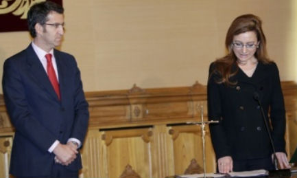 Marta Fernández Currás y el presidente Feijóo el día de la toma de posesión de los nuevos conselleiros