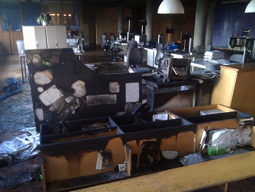 Un artefacto explosivo destroza la oficina de empleo de for Oficina inem baiona