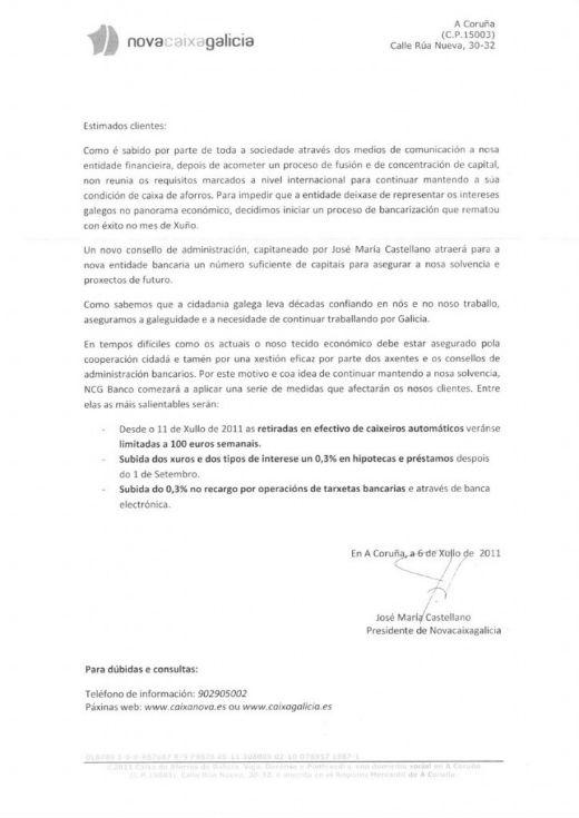 La carta de José Mª Castellano a los vecinos de Navia que resultó ser falsa