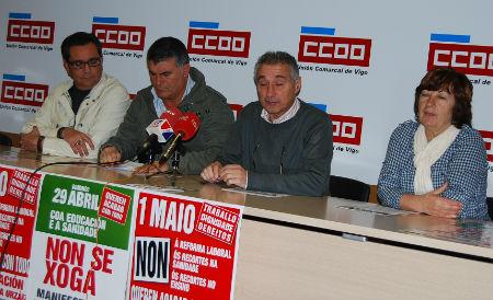 Antonio Juste (UGT) y José Cameselle (CCOO), este jueves durante la presentación de las manifestaciones