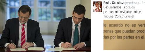 El secretario general del PSOE está a favor y en contra de la cadena perpetua, al mismo tiempo