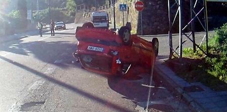 Espectacular accidente en la Carretera vieja de Madrid