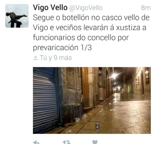 Veciños do Casco Vello adiantan en Twitter que denunciarán a funcionarios municipais pola falla de acción contra o 'botellón'