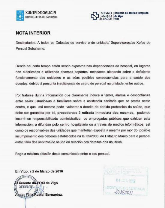 """El gerente del Cunqueiro ordena quitar todo cartel de protesta y avisa de """"responsabilidad administrativa"""" a quienes los difundan"""