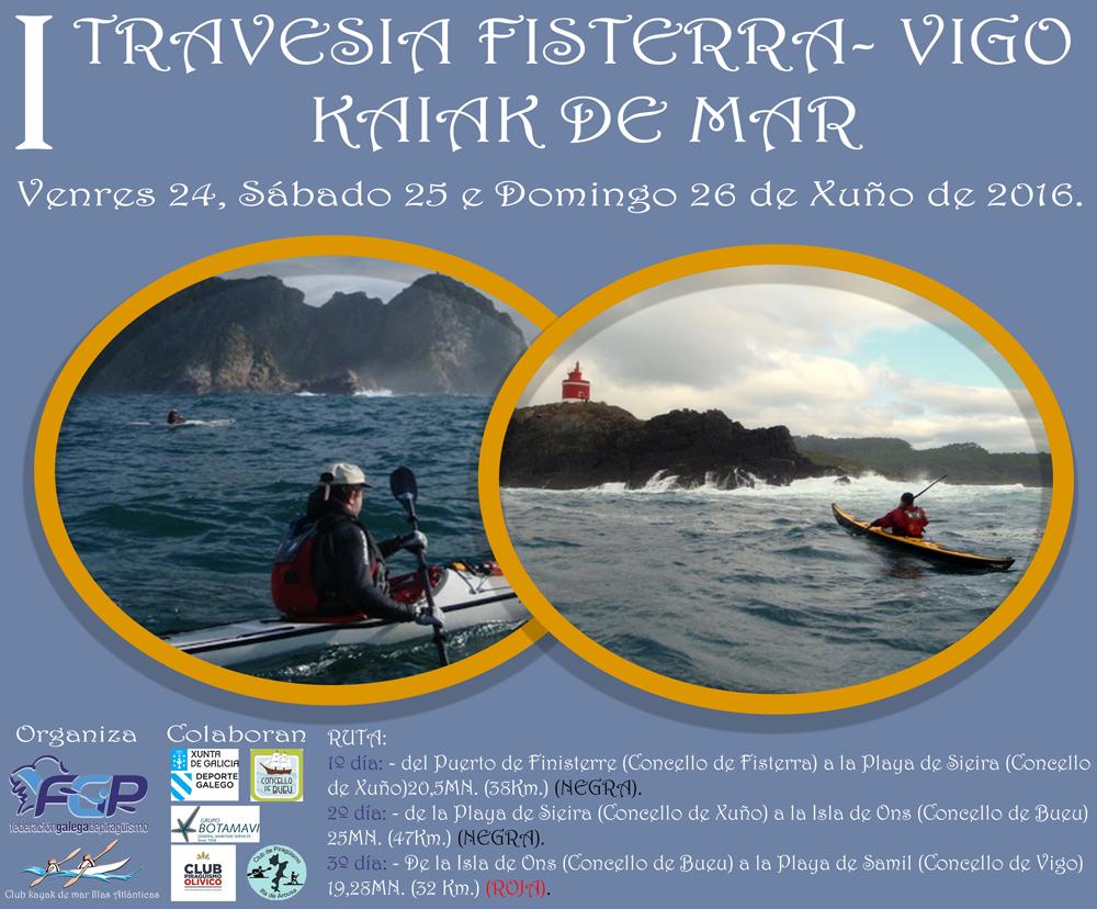 Los 117 km que separan Fisterra de Vigo, en kayak