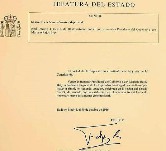 El Jefe del Estado firma el nombramiento de Rajoy como presidente del Gobierno