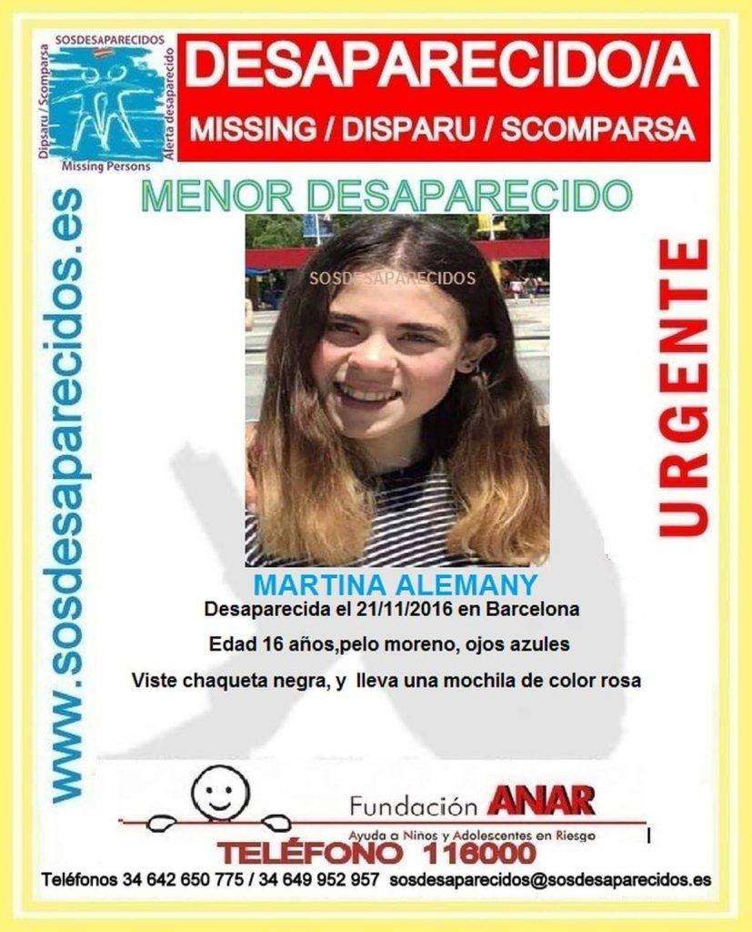 Aparece en buen estado Martina Alemany, la joven de 16 años desaparecida en Barcelona
