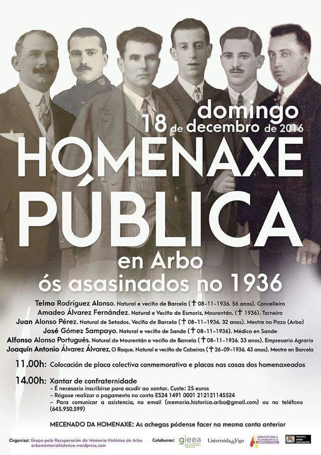 Arbo rende homenaxe aos seis veciños asasinados no levantamento militar de 1936