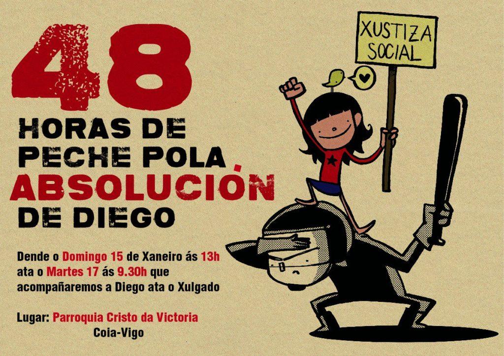 @AsembleaDeCoia anuncia un peche para apoiar a Diego Lores, acusado de empurrar a un policía nos actos contra o Alfageme
