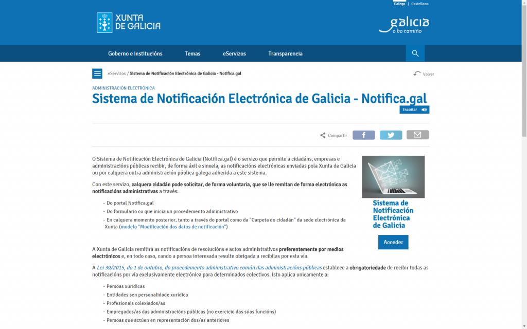 Os galegos xa poden pedir que a Xunta lles envíe notificacións en formato electrónico polo sistema 'Notific@'