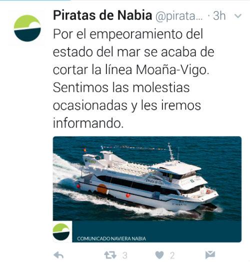 Se interrumpe el 'barco' entre Vigo y Moaña a causa del estado del mar, el transporte a Cangas sigue funcionando