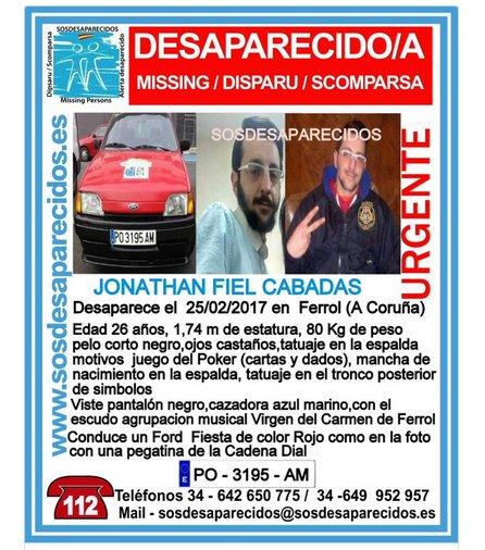 Buscan a un joven de 26 años desaparecido el pasado sábado