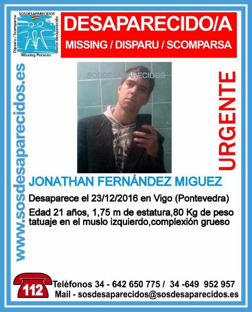 Buscan a Jonathan Fernández, de 21 años, desaparecido en Vigo