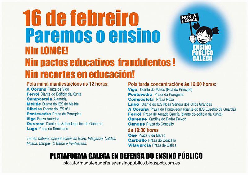 Os estudantes de secundaria e universitarios, convocados á folga este xoves, día 16
