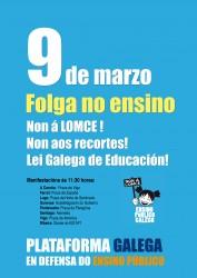 A Plataforma Galega en Defena do Ensino Público convoca folga este xoves, dái 9, en todos os niveis educativos