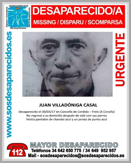 Buscan a Juan Villadóniga Casal, desaparecido de su casa en el concello de Cerdido