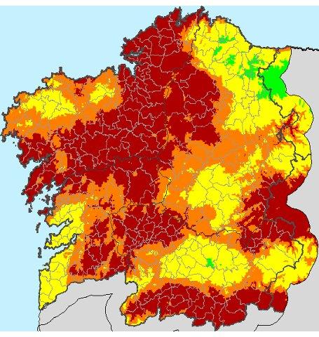 Galicia, en riesgo extremo de incendios por el calor, el tiempo seco y los vientos fuertes