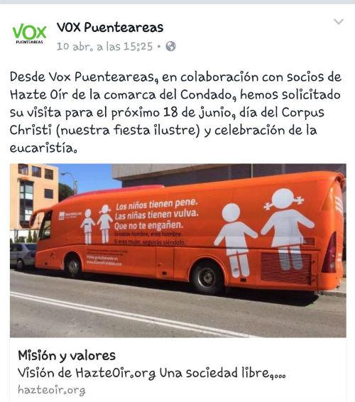 El partido de ultraderecha 'Vox' de 'Puenteareas' anuncia la llegada del bus de 'Hazte Oír' contra la libertad sexual