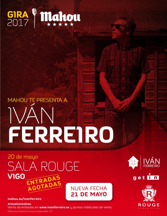 Ivanferreiro tocar en vigo tambi n el 21 de mayo tras for Sala rouge vigo