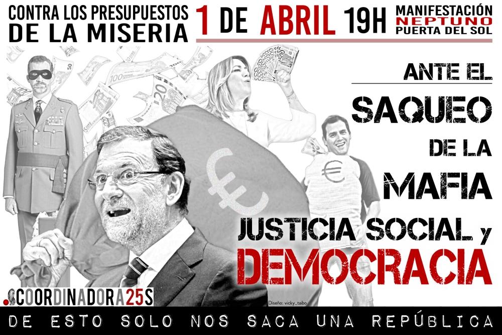 @Coordinadora25S convoca este sábado una manifestación contra #ElSaqueoDeLaMafia