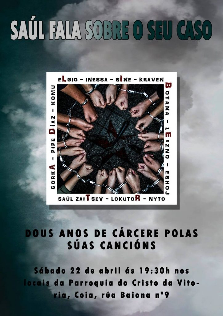 """@AsembleaDeCoia retoma a súa actividade este sábado coa charla """"Saúl, 2 anos de prisión por facer cancións"""""""