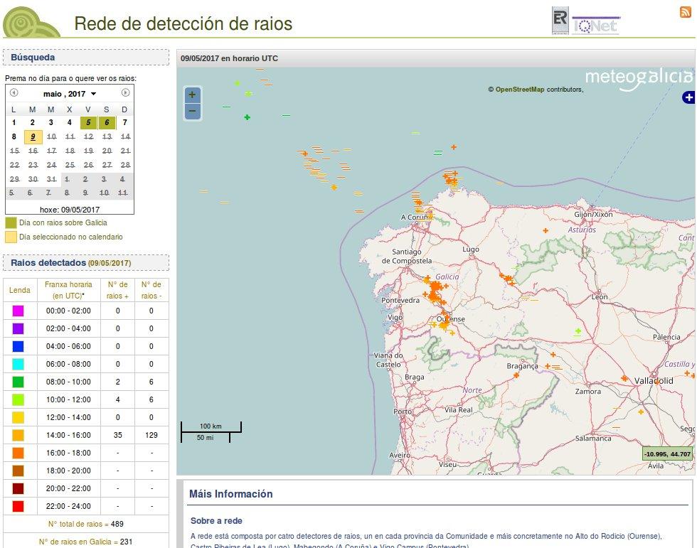 Máis de 200 raios caídos en Galicia dende as 3 da tarde deste martes