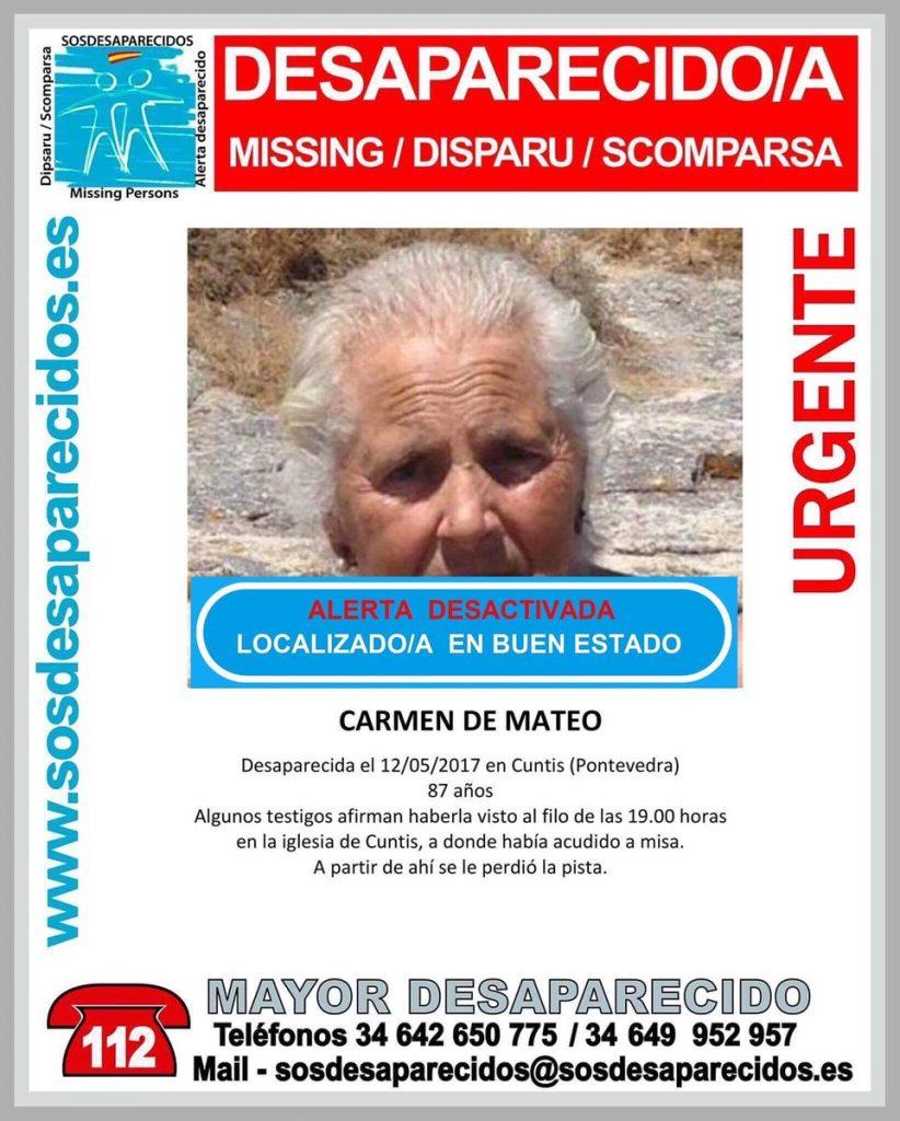 Encontrada en buen estado la anciana que había desaparecido este viernes en Cuntis
