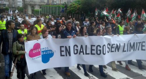 #EnGalegoSenLímites berran milleiros de persoas en Compostela