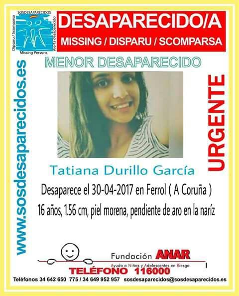 Buscan a una joven de 16 años desaparecida este domingo, día 30 en Ferrol