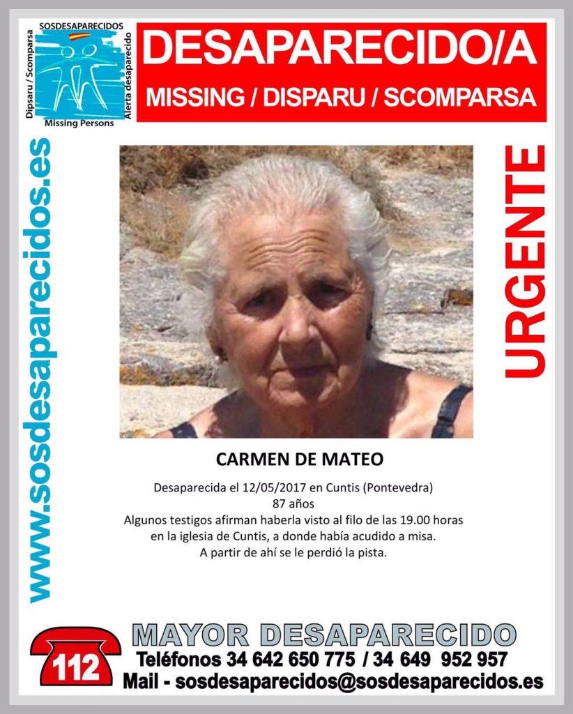 Buscan a Carmen de Mateo, de 87 años, desaparecida este viernes en Cuntis