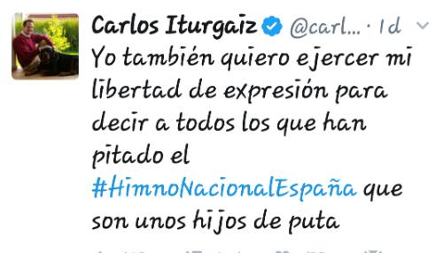 """@carlositurgaiz, eurodiputado del PP, 'eleva' el nivel de la política llamando """"hijos de puta"""" a quienes pitaron el himno el sábado"""