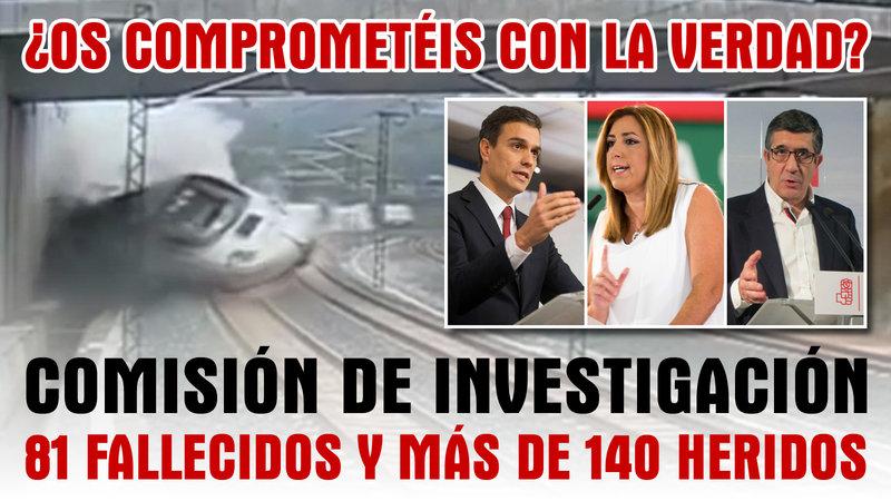 @victimastren de Angrois recogen firmas para que los candidatos a liderar el PSOE digan si investigarán el accidente