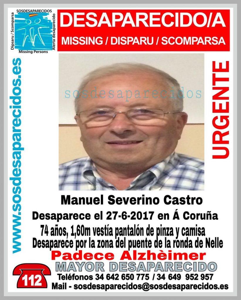 Buscan a Manuel Severino Castro, de 74 años, enfermo de Alzheimer, desaparecido en A Coruña