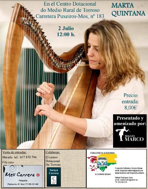 Este domingo, día 2 de julio, en Mos, concierto de la arpista Marta Quintana, a favor de 'Furgoneta Solidaria'