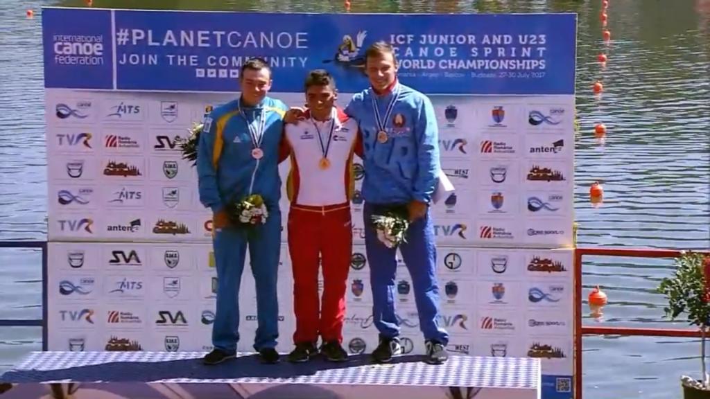 El palista do O Morrazo Pablo Graña, campeón del mundo de C1-200 metros