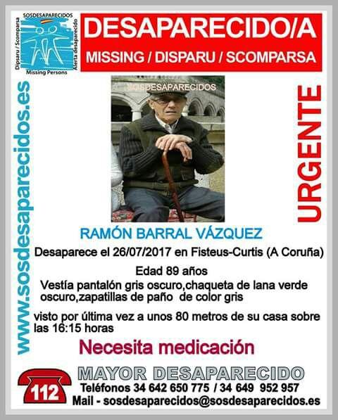 Perros rastredores se suman a la búsqueda de Ramón Barral, de 89 años, desaparecido desde el miércoles en Curtis