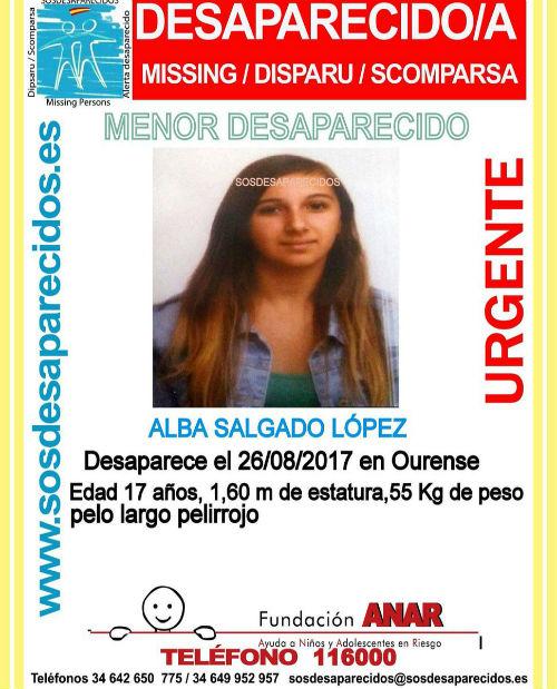 La familia busca a Alba Salgado, de 17 años de edad, que desapareció en Ourense el sábado pasado