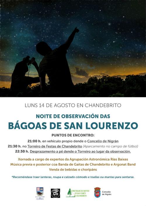 @ConcelloNIgran organiza o vindeiro luns, día 14, a terceira observación das perseidas na parroquia de Chandebrito