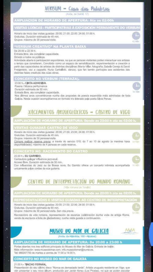A 'Noite Branca' manterá abertos os museos e ofrecerá actividades en todo Vigo ata as 2 da mañá