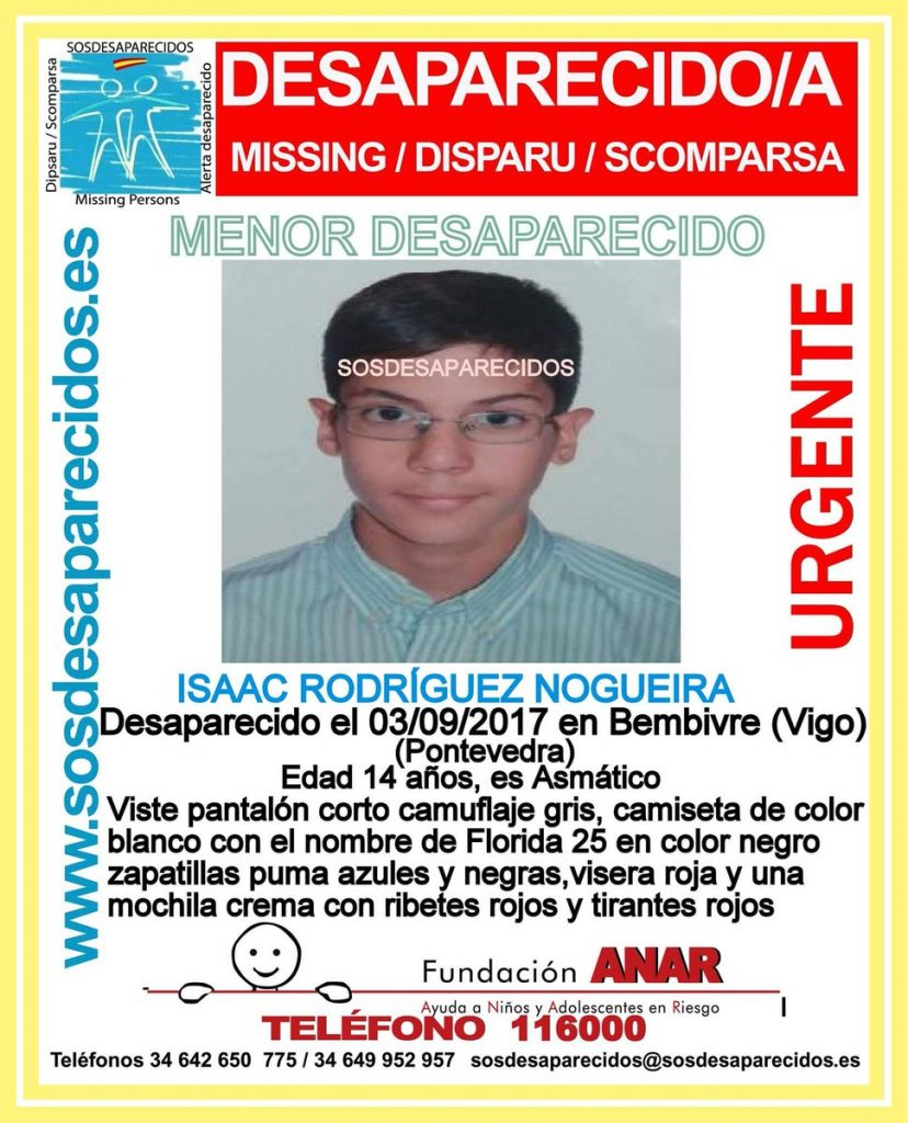 Sigue la búsqueda de Isaac, de 14 años, desaparecido en Vigo el pasado domingo