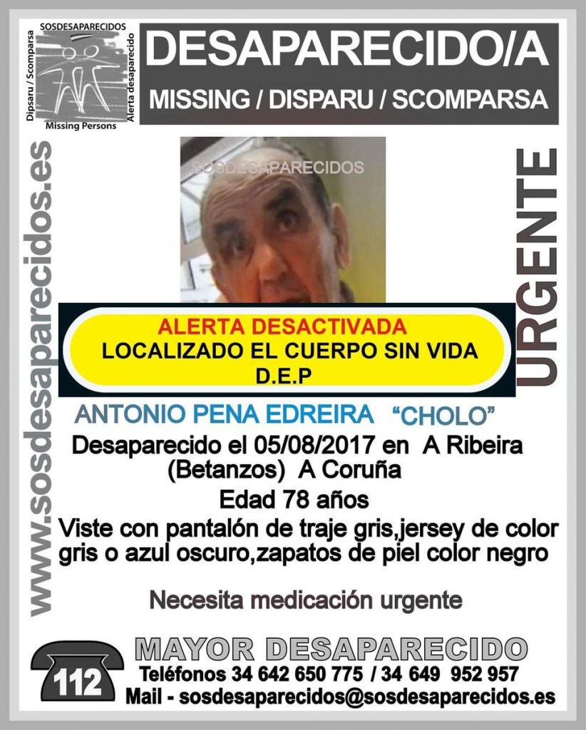 El cadáver hallado en Betanzos es el de Antonio Pena, de 78 años, que estaba desaparecido desde el 5 de agosto