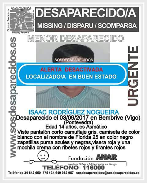 Hallado en buen estado el joven de 14 años que faltaba de su casa en Vigo desde el domingo pasado