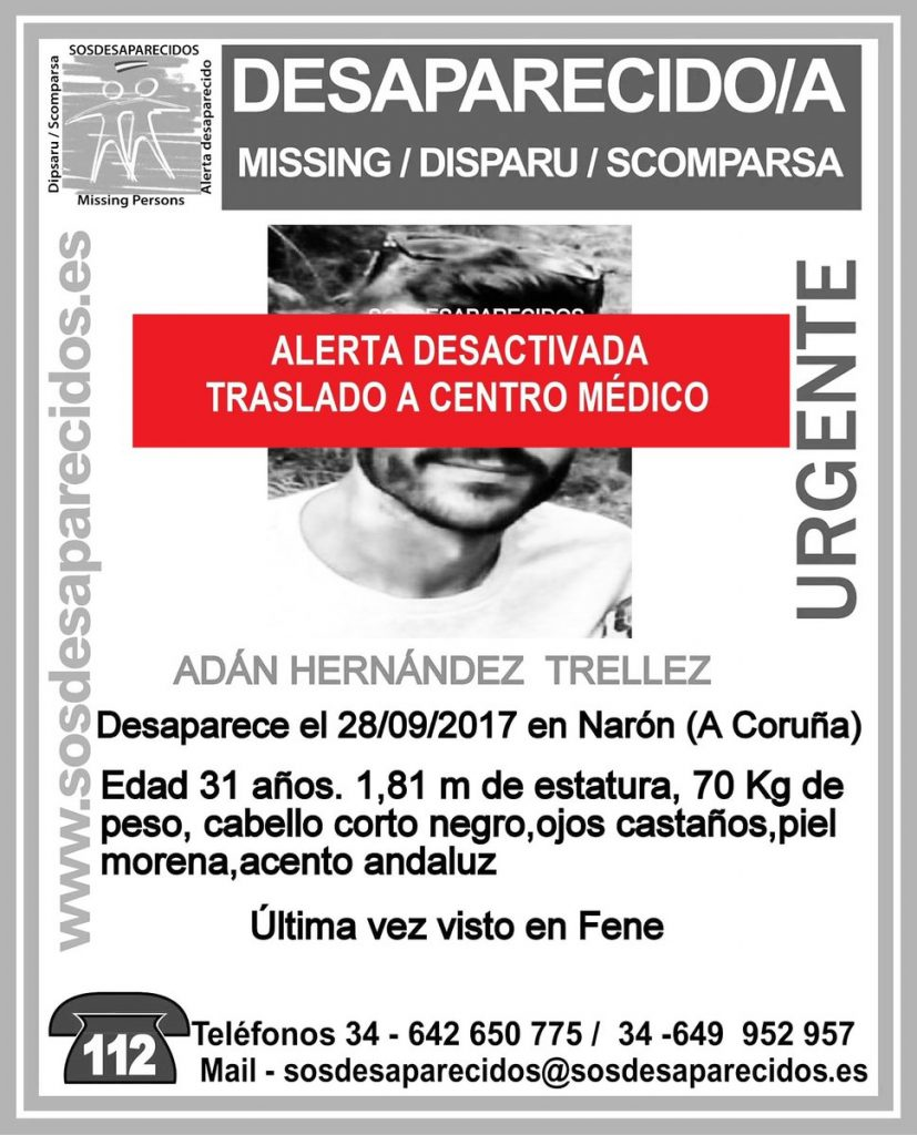 Encontrado y trasladado a un centro médico el joven de 31 años vecino de Narón desaparecido desde el jueves