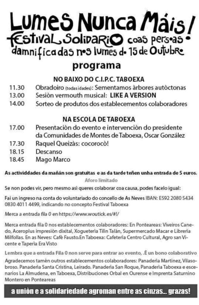 Festival Solidario 'Lumes Nunca Máis' en As Neves, o vindeiro día 25 a prol dos afectados polos incendios