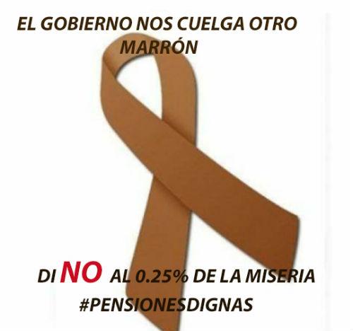 """#pensionesdignas Un lazo marrón en contra de la """"miserable"""" subida del 0,25% de las pensiones"""