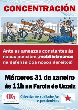 Concentración de xubilados e pensionistas en Vigo, este mércores, en defensa das pensións