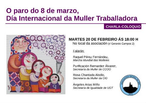 Charl-Coloquio sobre a 'Folga de Mulleres', este martes na Asociación Veciñal de Teis