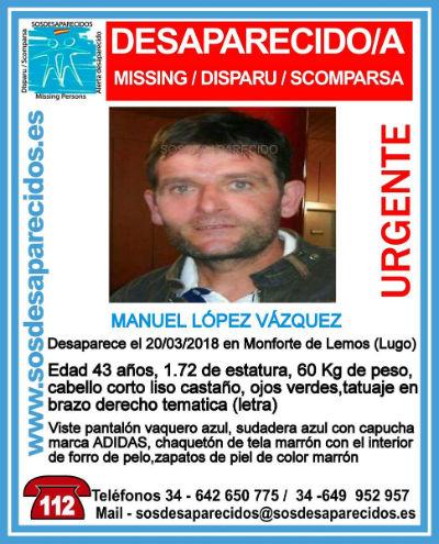 Buscan a un hombre de 43 años desaparecido este martes en Monforte